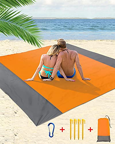 HUIRUMM Esterilla de playa de picnic extra grande de 210 x 200 cm, impermeable, con 4 clavos fijos, para playa, parque, camping, viajes, color marrón