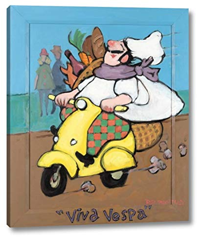 "Viva Vespa by Robert Dewar Bentley - 13"" x 16"" Canvas Art Print Gallery Wrapped - Ready to Hang"