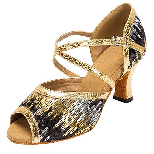 Meijili Womens gouden glitter pailletten avond bruidsschoenen Ballrom Latijnse Dans sandalen