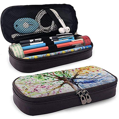 Four Season Tree of Life Painting PU Leather Pencil Pen Bag 20 * 9 * 4 cm (8X3.5X1.5 Inches) Pouch Case Holder Coin Purse Cosmetic Bag
