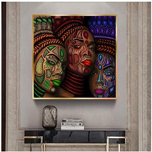 Mujeres étnicas africanas tatuaje cara retrato pintura carteles e impresiones cuadro de arte de pared para artículos para el hogar decoración de pared -50x50cm marco interior de madera