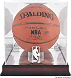 A Basketball in a mahogany glass case