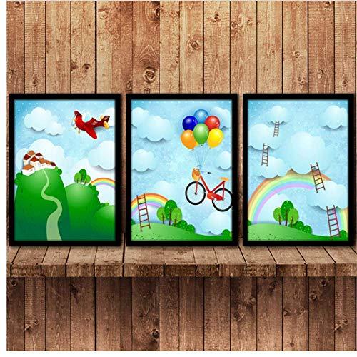 Canvas Wall Art Canvas Decoratie Cartoons Papier Vouwen Vliegtuigen Ballonnen Regenbogen Kinderkamer Decoraties Wandfoto's Niet ingelijst 3 Stuk Set 50 * 70Cm