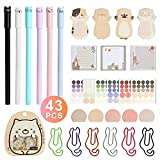 Cute Cat Ink Pen&6 Color Cat Paper Clips and Silhouette Cat Sticky Notes,Page Flags Index Tabs,Funny Cat Stickers,Special Notepads Set Home Office School Stationary Cat Lover Gifts