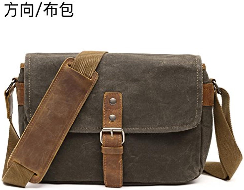 Casual Shoulder Bag Direction Cloth Bag Casual Shoulder Bag Oily Wax with mad Horse Bag Waterproof Retro Camera 29cm10cm20cm, Army Green