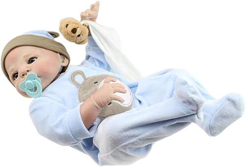 IIWOJ 58cm Reborn Babypuppe Big-Eyed Silikon Junge Puppe Baby Kleidung Modell