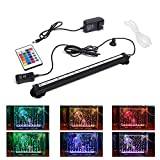 LED Aquarium Light, Smiful Submersible Fish Tank Light Colorful Remote Control Waterproof Crystal Glass LEDs Lights Bar (11'- Air Bubble)