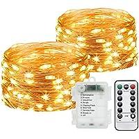 2-Pack Jamiewin 50 LEDs Fairy Indoor Outdoor Decoration Lights 16.4ft