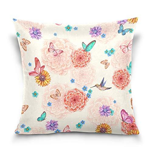 FULUHUAPIN Fundas de almohada con estampado cuadrado de mariposas y flores, fundas de cojín de algodón, para sofá, decoración del hogar, 20 x 20 pulgadas, 2030600