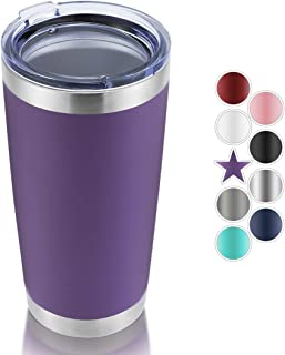 DOMICARE 20oz Stainless Steel Tumbler with Lid, Double Wall Vacuum Insulated Travel Mug, Durable Powder Coated Insulated Coffee Cup, 1 Pack, Purple