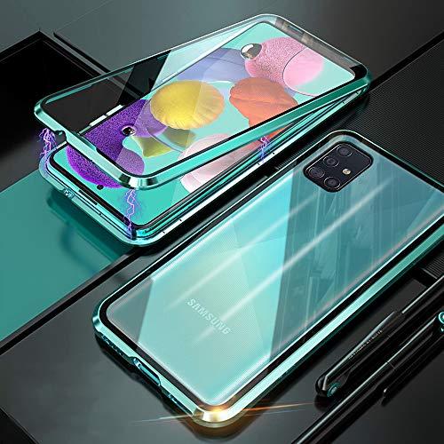 Funda para Samsung Galaxy A51 Magnetica Adsorption Carcasa Frente y Parte Posterior Cuerpo Completo Transparente Vidrio Templado 360 Grados Protección Metal Choque Cover Case - Verde