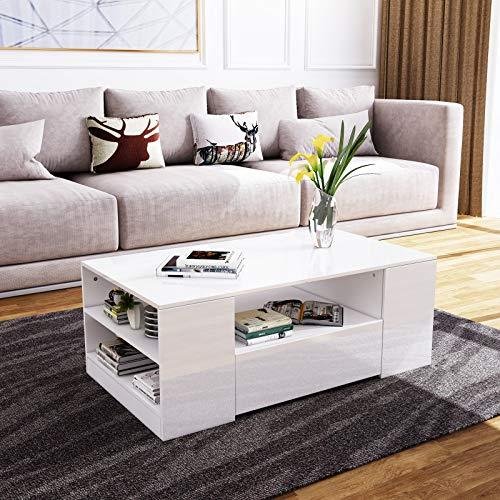 Senvoziii Couchtisch Hochglanz Sofatisch Kaffeetisch 2 Schubladen mit Regalen Offenes Gehäuse für Wohnzimmer Büromöbel - Weiß
