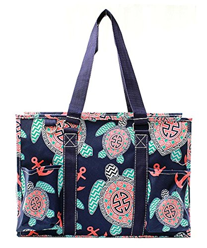 N Gil All Purpose Organizer Medium Utility Tote Bag (Sea Turtle Navy Blue)