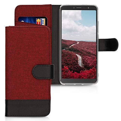 kwmobile Funda Compatible con Xiaomi Redmi S2 / Redmi Y2 - Carcasa de Tela y Cuero sintético Tarjetero Rojo Oscuro/Negro