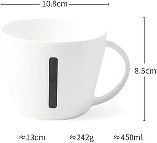 Bone China White Letter Printed Ceramic Mugs With Handgrip Coffee Milk Creative Breakfast Tea Mug Brief Style 450Ml,I,450Ml