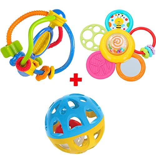 WIN-FUN Pack Balle avec Son, Anneau de Dentition sensoriel et Dentition Spirale pour bébé + 0 Mois coloré avec Son Jouet pour bébé Nouveau-né