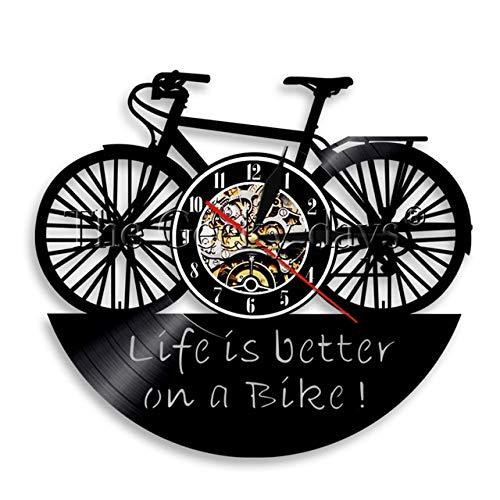 Yvonnezhang 1 stuk fiets fiets Vinyl Record muur klok leven is beter op een fiets muur klok vintage office Decor tijd klok vrienden gift