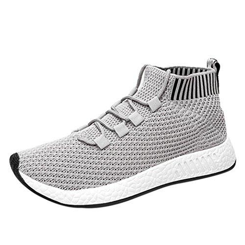 Chenang Herren Swift Racer Gymnastikschuhe Herren Md Runner Low-Top Sneaker Fliegende Linie gewebt High-Top-Soft-Laufschuhe Turnschuhe Socken Schuhe (38.5 EU, Grau)