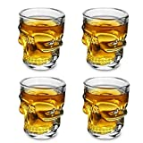 offershop Conjunto Set 4 Vasos Tazas de Cristal con Calavera Cráneo Cuatro Piezas para Whisky Vodka Espíritu Ron Cerveza Vino Cocktail Cóctel Bebidas Suave Chupitos Shot