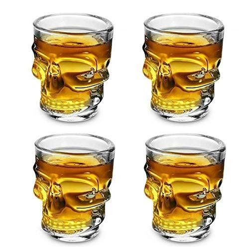 offershop Set 4 Bicchieri Bicchierini Bicchiere in Vetro con Teschio Cranio Quattro Pezzi per Whisky Vodka Liquore Rum Cocktail Grappa Birra Vino Beva