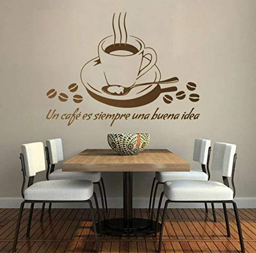 Citas en español Calcomanías de pared Citas Tienda de café Decoración del hogar Vinilo extraíble Pegatinas de ventana de la tienda para la puerta del café Adorno de arte 56 * 42cm