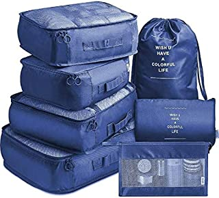 SKEIDO 7 Pack Packing Cubes Value Set for Travel Luggage Organiser Bag Compression Pouches Clothes Suitcase Packing Organi...