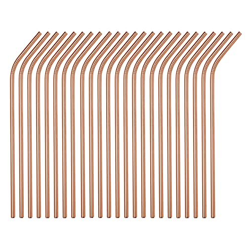 Reusable Metal Straws 24Pack,8.5'Stainless Steel Straws In Bulk 215x6mm Straight Bent Curved Drinking Straws for 20oz Tumblers Yeti Mugs (All Bent Rose Gold-24Pack)