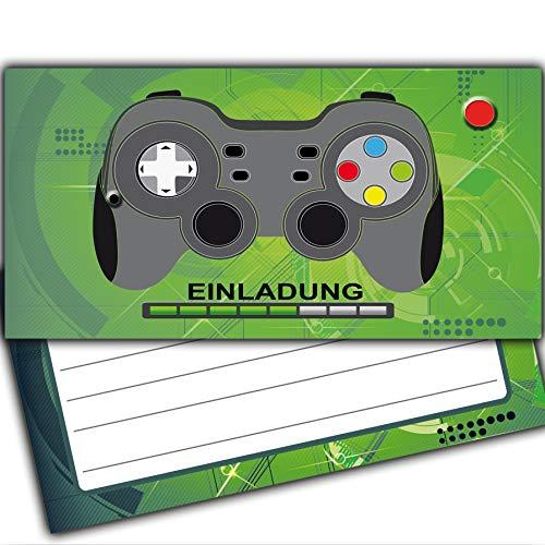 Einladungskarten Spielkonsole Game on Gamer Gaming Einladung Mädchen Jungs Kinder Kindergeburtstag Graffiti Pirat Sport Karte LAN-Party Computer Controller Galaxy Tablet Handy Heroes pad