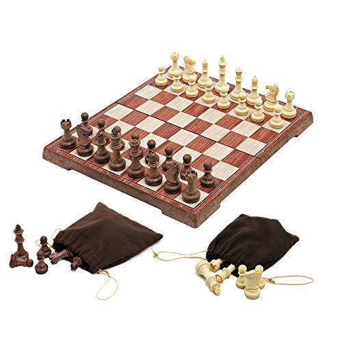 HKOEBST Juego de mesa de ajedrez plegable magnético portátil de ajedrez con ranura de almacenamiento de piezas de ajedrez, gran regalo, juego de puzzle, L