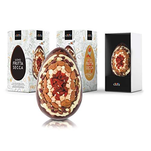 Uovo di Pasqua ''Maya'', Cioccolato Bianco, al Latte E Fondente con Frutta Secca Mista, Nocciole, Mandorle, Pistacchi E Bacche Goji, Senza Glutine, 300 Grammi