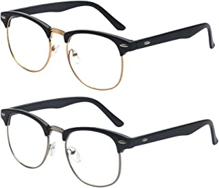 Outray 2 Pack Reading Glasses Vintage Horn Rimmed Half Frame Style for Men and Women