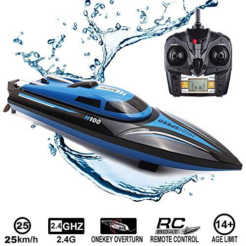 RC Boot Ferngesteuertes Boot, 2,4 GHz 25 km/h 4-Kanal Hochgeschwindigkeits RC Schnellboot Rennboot für Kinder Erwachsene, Fernbedienung Elektro-Boot Spielzeug für Pools und Seen mit LCD-Bildschirm