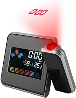 ساعة منبه للإسقاط ، منبه رقمي USB LED منبه للطقس/التقويم/الرطوبة 180 درجة جهاز عرض قابل للدوران للمنزل (أسود)