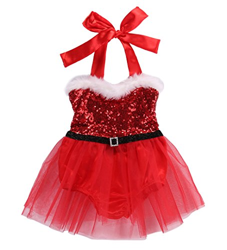Newborn Baby Girl Rompers Santa Claus Jumpsuit Dress Christmas Outfits Costume (0-3 Months, Red)