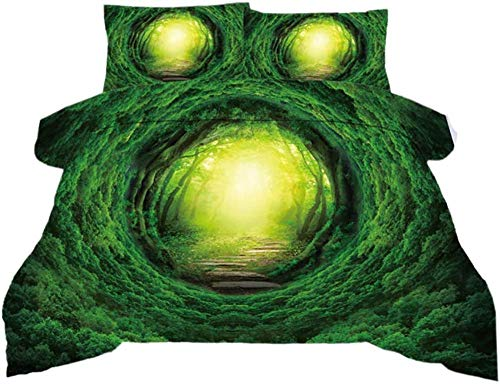 dsgsd Imagen de impresión de Funda nórdica de impresión 3D Hermosa Cueva Verde Bosque Natural 180x220cm Juego de Ropa de Cama Funda de edredón Sábana Fundas de Almohada Juego Ropa de Cama cómoda para