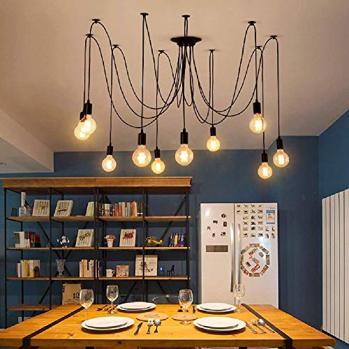 Oursun Kronleuchter Industrie Pendelleuchte Vintage Retro Spinne Lampe Hängend Deckenleuchte Hängelampe Pendellampe für Schlafzimmer Wohnzimmer Esszimmer (8 lights) - 2