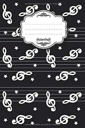 """Notenheft: Notenbuch I 96 Seiten I ca. a5 I 15,24 x 22,86 I 6\"""" x 9\"""" I 8 Notensysteme pro Seite I mattes Softcover I Noten Stern schwarz"""