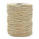 Tenn Well 3.5mm 麻紐, 61m 編み麻ロープ 園芸 梱包 手芸 壁掛け キャットタワーなどに (茶色)