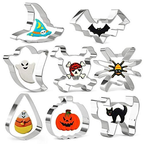 Olywee - Juego de 8 cortadores de galletas de acero inoxidable para Halloween, diseño de calabaza, cráneo, fantasma, gato, murciélago, araña y caramelo y sombrero de bruja