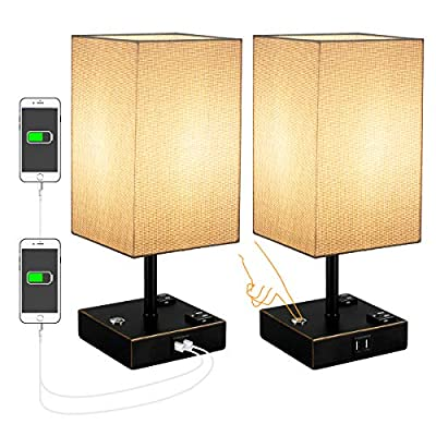 USB Table Lamp,3 Way dim Bedside Table Lamps with 2 Useful USB Charging Ports, Solid Wood Nightstand Lamp with Grey Fabric Shade, Ambient Light Perfect for Bedroom, Living Room, Study Room 2Pack