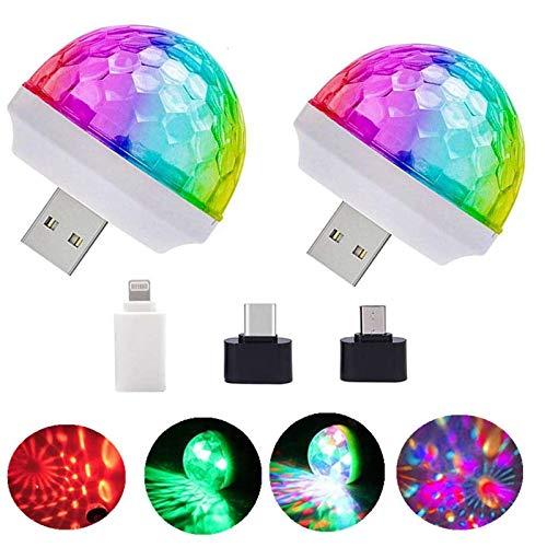 Mini luces de discoteca USB, luces de DJ del escenario, luces de bola mágicas, luces de escenario, Puerta del puerto USB, Fiesta de cumpleaños Familia de Navidad KTV Boda Barra de boda (2 PCS)