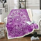 Loussiesd Manta de forro polar Boho Mandala para cama, sofá, bohemio, floral, manta de felpa decorativa medallón sherpa, flor étnica cálida manta difusa púrpura individual 126 x 152 cm