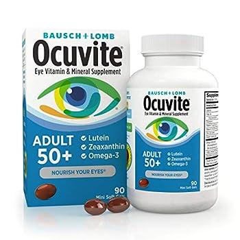 Ocuvite Eye Vitamin & Mineral Supplement Contains Zinc Vitamins C E Omega 3 Lutein & Zeaxanthin 90 Softgels
