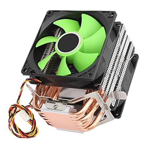 Radiador de Doble Ventilador, Ventilador de disipador de Calor de CPU de 9 cm y 3 Pines, para Intel LGA775 / 1155/1156/1366 AMD AM2 / AM2 + / AM3