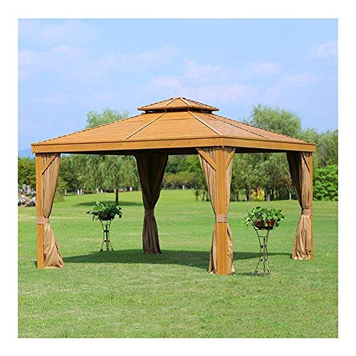 WANGLX 3 4M Garden Gazebo, Patio Pavilion Outdoor Villa Leisure Pavilion Aluminum Alloy Chalet Outdoor Awning Villa Canopy Pergola Tent for Outdoor Rooftop Garden Courtyard