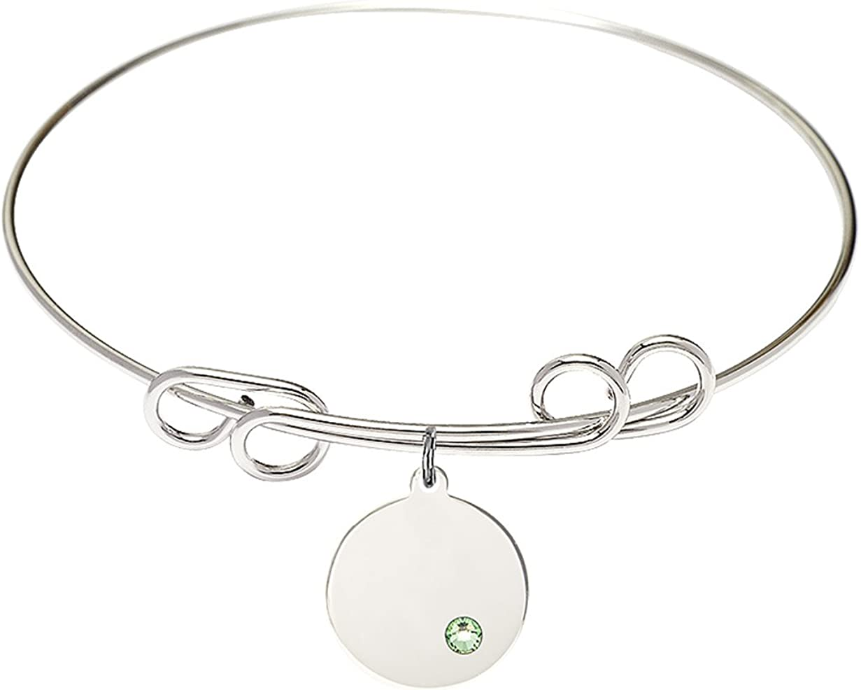 Same day shipping DiamondJewelryNY Dealing full price reduction Double Loop Bangle Bracelet with Plain a C Disc