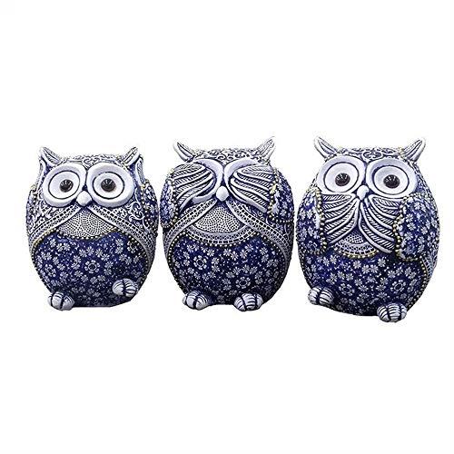 3pc Uil Beeldjes Decoratie, Mini Dieren Ornamenten Home Decoration Accessoires Office Ambacht Kunstwerk Decoratie Gifts (Size : L)