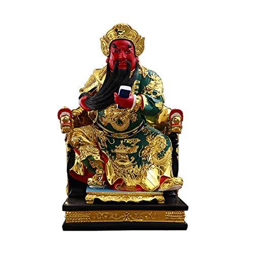 NYKK Estatuas de Feng Shui 15 Pulgadas Guan Yu Buda Estatua Inicio Lucky Decorations Lectura Libro Guan Yu Buda Estatua Inicio Oficina Tabletop Decoración Buena Lucky Regalos Estatua de Riqueza