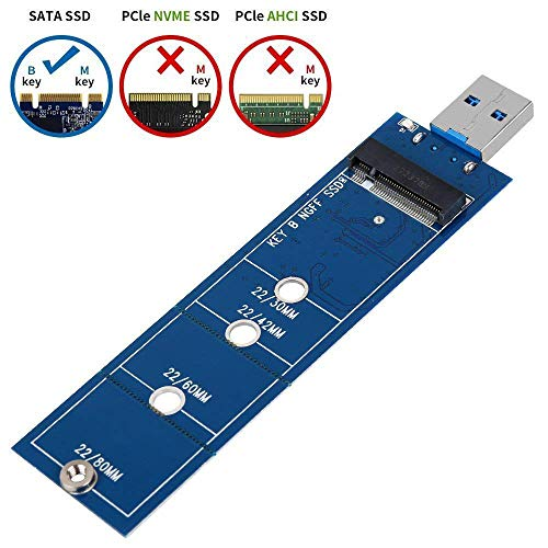 EasyULT M.2 SSD a USB 3.0 Adattatore NGFF SATA Basato B/B+M SuperSpeed Adattatore 5Gbps Supporto 2230 2242 2260 2280 Compatibile per Windows 10/8/7/XP/2003/2000/Vista,Linux,Mac 10.0 OS