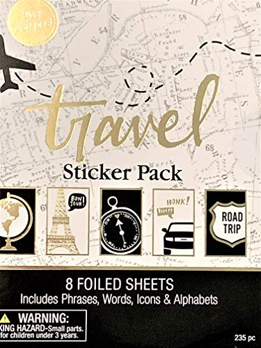 Elegant Blooms amp Things Travel Sticker Book 235 pcs Black Gold Foil White Journals Albums Planners